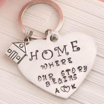 Hand stamped keychain, home is wher..