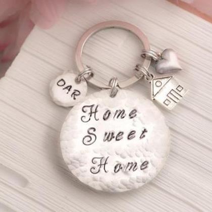 Hand stamped Sweet home keychain as..