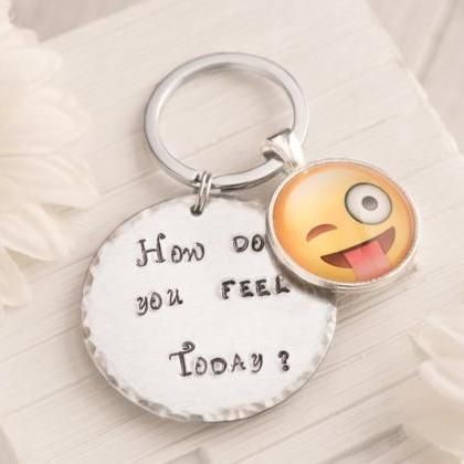 Hand stamped keychain with tongue e..