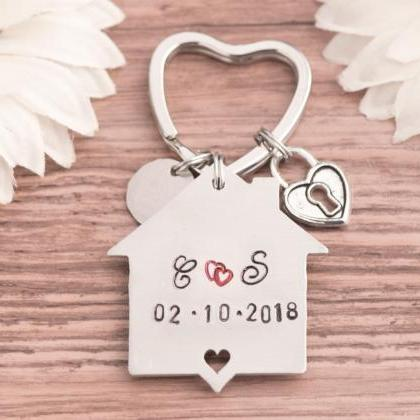 Hand stamped keychain, First home e..