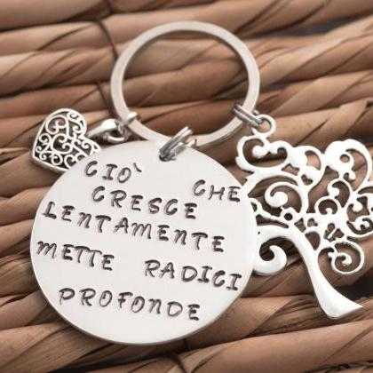 Hand stamped sisters keychain tree ..
