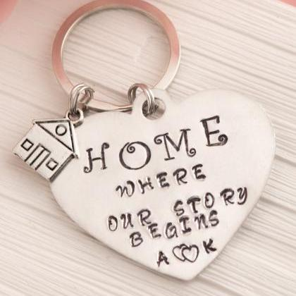 Hand stamped personalized keychain,..