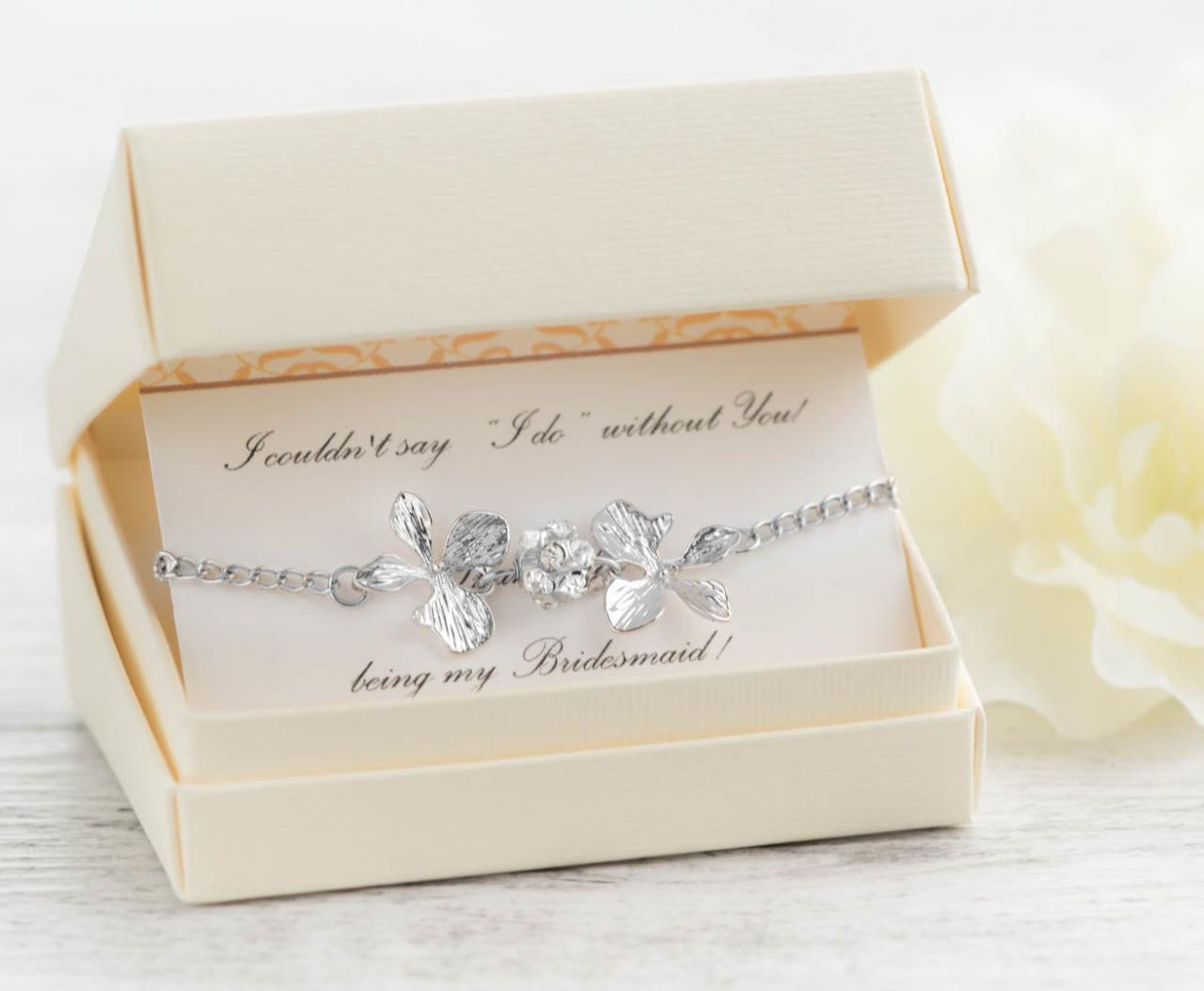 grey wedding set of 7/8/9/10 silver bridesmaids with silver orchid bracelet-rhinestone jewelry set of 8 bracelets with i do without you note