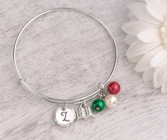Hand stamped best teacher bracelet bangle adjustable, teacher present nanny, last day of school giift, bracelet custom made to order, teacher thanke