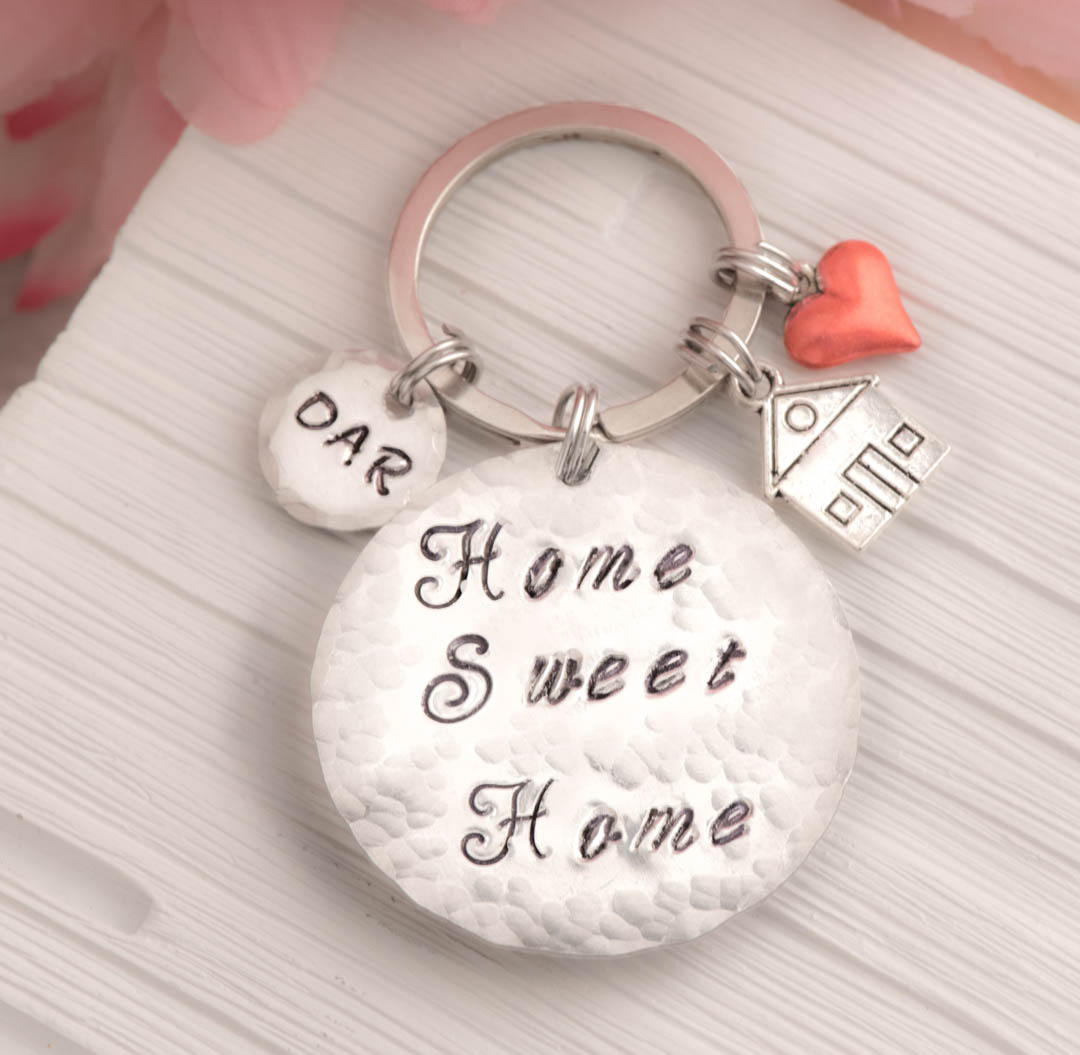 Sweet home keychain as moving gift for home owners