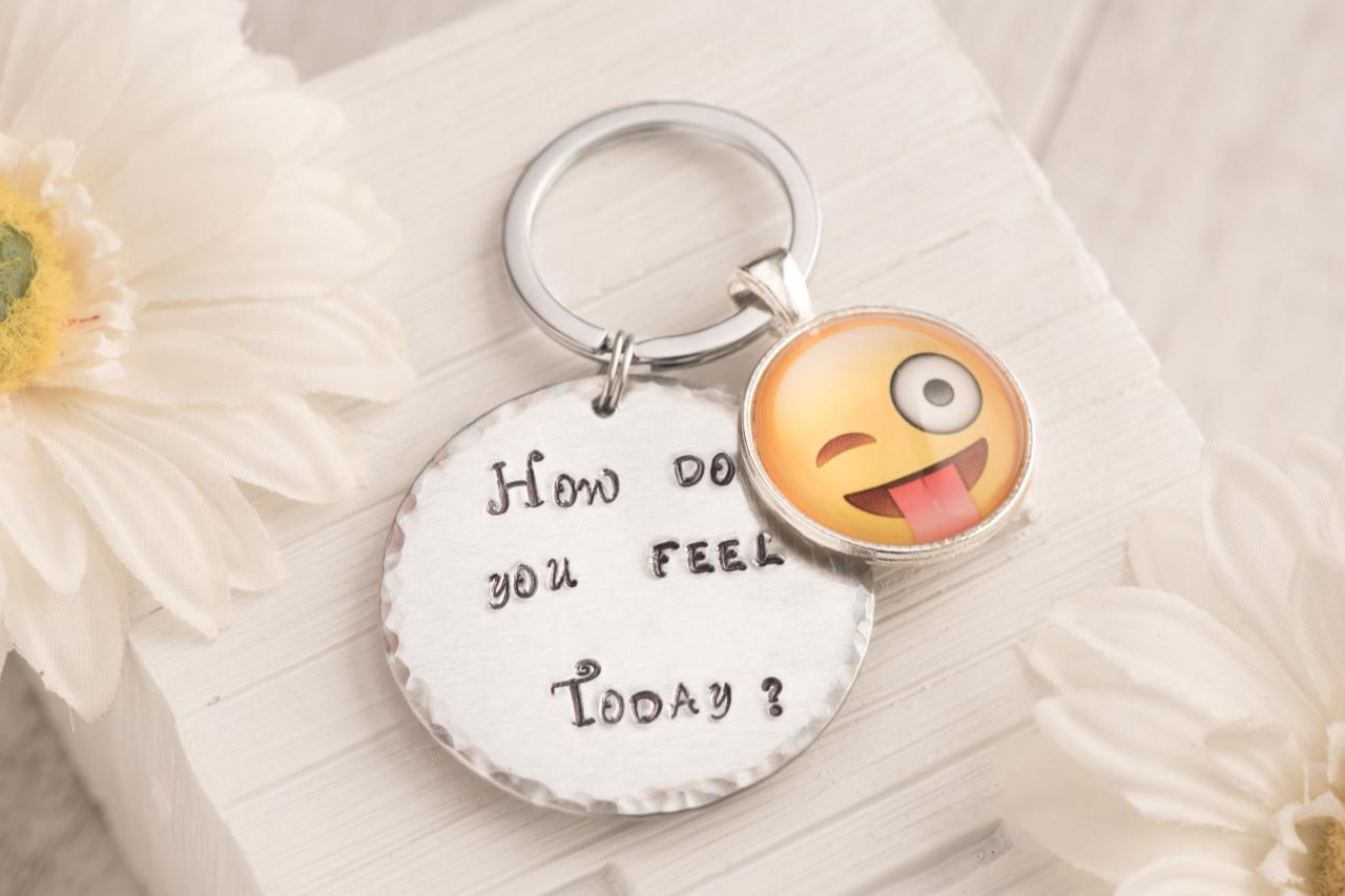 Hand stamped keychain with tongue emoji charm as funny gift for man