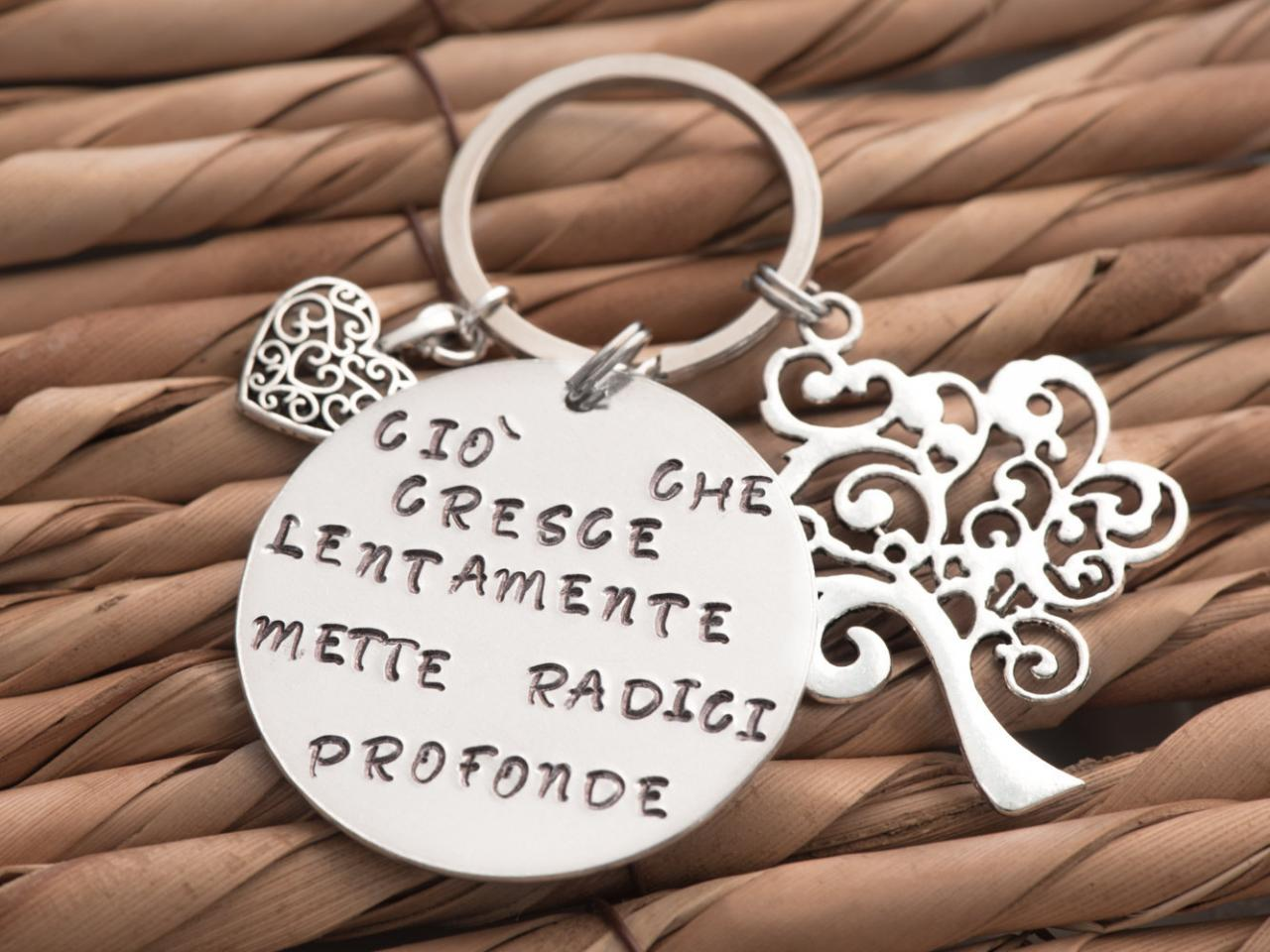Hand stamped sisters keychain tree of life gift retirement, tree teacher gift personalized custom keychain grandfather, relationship gift all the way