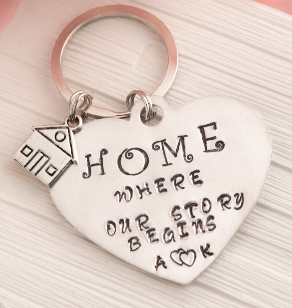 Hand stamped personalized keychain, Our first home gift with our story begins engraved keychain