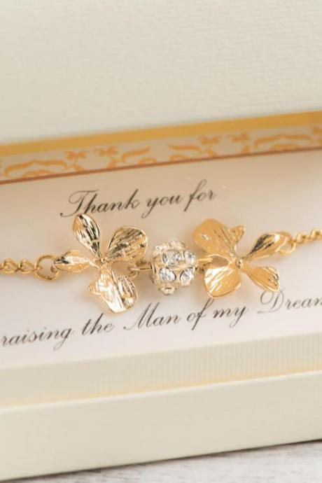 gold orchid bracelet, mother of groom gift from bride, mother in law gift, raising the woman man, the man of my dreams,
