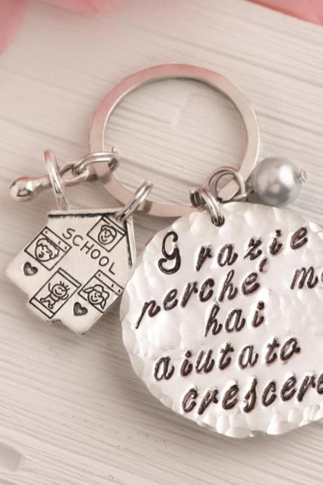 Hand stamped custom engraved keychain, Personalized teacher keychain gift from classroom