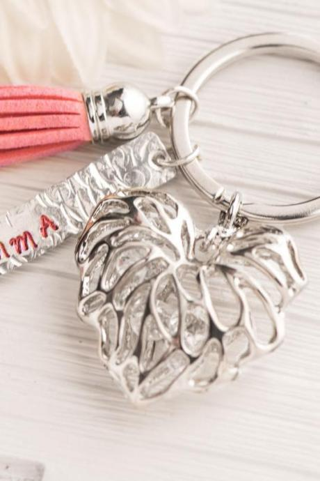 Hand stamped personalized charm keychain, personalized baptism baby gift, personalized tassel heart keychain leather, engraved name plate, emma, july mom gift