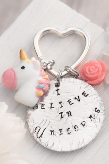 Hand stamped custom engraved keychain, baby girl unicorn birthday, pink girl unicorn gift, believe in unicorn magic of a unicorn, i love unicorn theme, pony unicorn keychain.