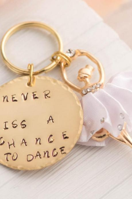 Hand stamped keychain, personalized ballet dancer keychain as dance recital gift as quote keychain as Dance Mom Gift - Dance School Gift - ballerina keychain