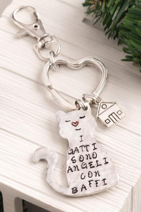 Hand stamped cat keychain, Custom crazy cat keychain as bff lover gift