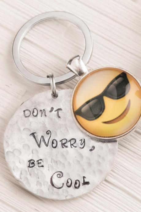 Hand stamped keychain, Sunglasses emoji keychain for him