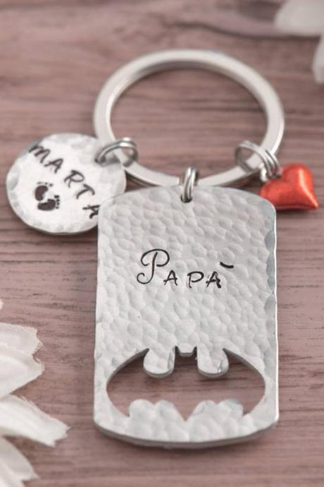 Hand stamped keychain, Engraved batman gift for new father keychain