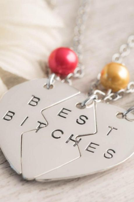Hand stamped silver heart necklace, 3 BFF heart jewelry with 3 best bitch engraved as best sisters forever friend gift set - christmas gift bitches with best bitches pendant