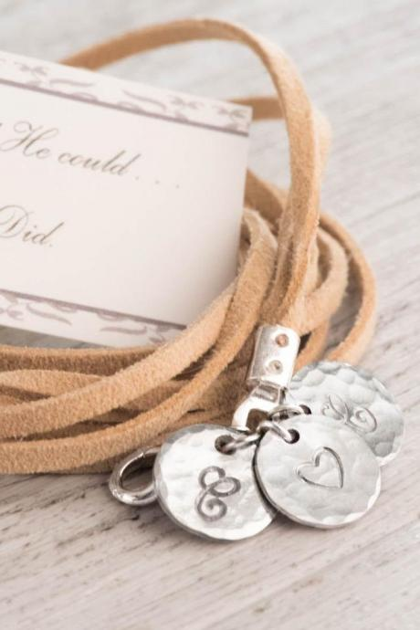 wrap bracelet men with multi strand leather as girlfriend boyfriend bracelet as long distance boyfriend gift - engraved 3 initial bracelet