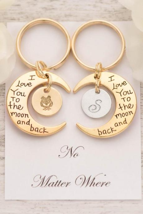 set of 2 best friend keychains with handstamped keychains and to the moon and back note - custom keychain personalize