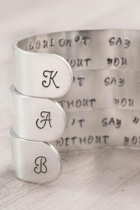 Hand stamped engraved cuff bracelet set as cuff bridesmaid gift set of 3/4/5 cuff bracelet with I couldnt say I do without you note