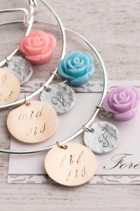 Hand stamped three bracelet set big sister, little sister, middle sister, Forever Sisters no matter where card, 3 initial birthstone bangle bracelet
