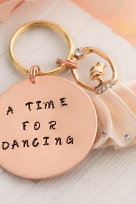 Hand stamped keychain, custom thank you teacher, ballet dance teacher gift, dance bag, birthday ballet party, dance recital gift, teenage girl gift.