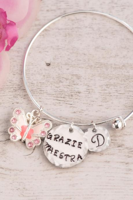 best teacher bangle bracelet adjustable, made to order, thank you bracelet school gift personalize bracelet nana gift from classroom