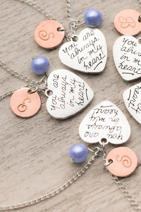 5 best friend necklace as birthstone initial necklace with always in my heart note-set of five friend long distance necklaces as moving away