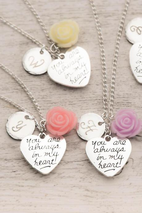Hand stamped custom necklace, 5 bff necklaces in a set of 5 silver heart necklaces - engraved initial necklace - set of love necklaces with always in my heart note