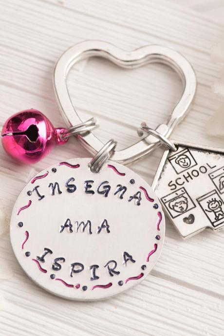 Hand stamped keychain, personalized teacher keychain gift from student as end of term gift