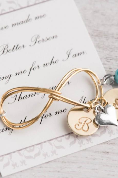 gold infinity love in a 2 initial bracelet as infinity girlfriend as gift for mom from daughter - engraved 2 initial birthstone bracelet -