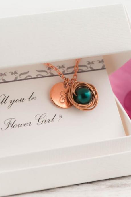 Rose gold will you be my flower girl necklace with dark green pearl initial necklace as rose gold green wedding gift set - blush flower girl gift set
