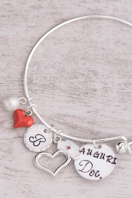 Hand stamped personalized bangle nurse graduation, Hand stamped jewelry, female doctor gift, awesome nurse bracelet medical student, charm bangle doctor