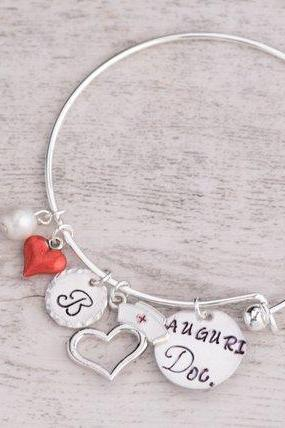 Hand stamped nurse bracelet, registered nurse bracelet nursing student, personalize bangle doctor graduation, female doctor gift, charm bangle doctor