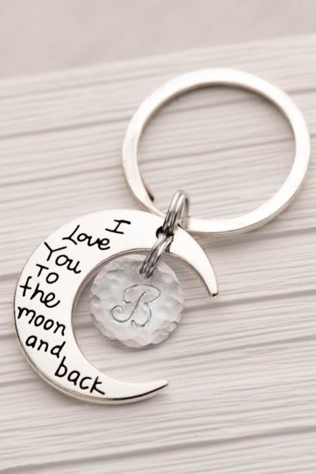 Hand stamped moon keychain with initial and I love you to the moon and back keyring - gift for mom from daughter as bff keychain as valentine gift.
