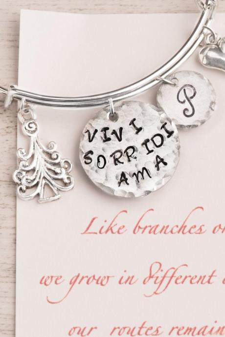 Hand stamped personalized bangle bracelet, Tree christmas charm bangle as gift for sis