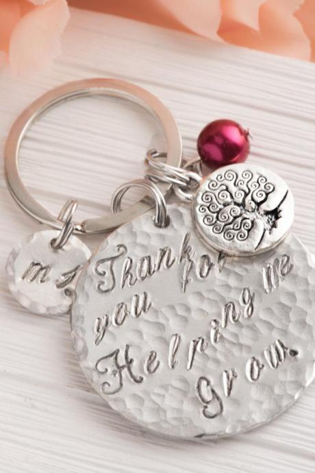 Hand stamped engraved teacher keychain ,personalized tree gift as quote teacher gift-tree teacher gift helping me grow engraved-hammered keychain