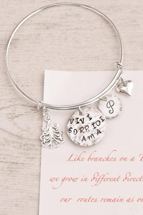 Hand stamped winter bangle with initial personalized and Tree
