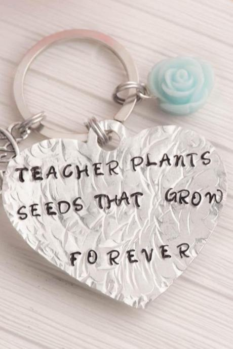 Hand stamped heart keychain , tree teacher gift theme as teacher of the year tree keychain heart - kindergarten gift as preschool teacher key ring as kids school keychain