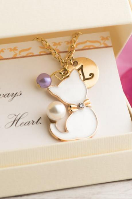 White cat necklace, personalized cat necklace with custom initial, pet lover necklace tiny paw, always in my heart, custom cat memorial gift.