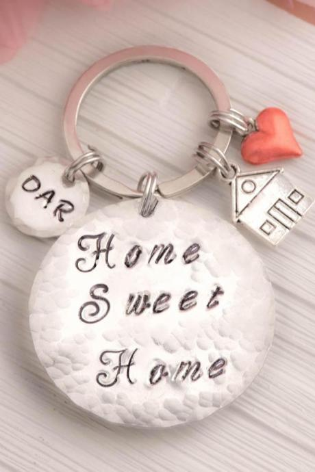 Hand stamped Sweet home keychain as moving gift for home owners