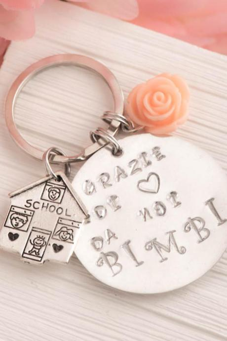 Hand stamped engraved keychain, day care gift as teacher appreciation key ring as kids school keychain with big heart to teach note personalized engrave keychain