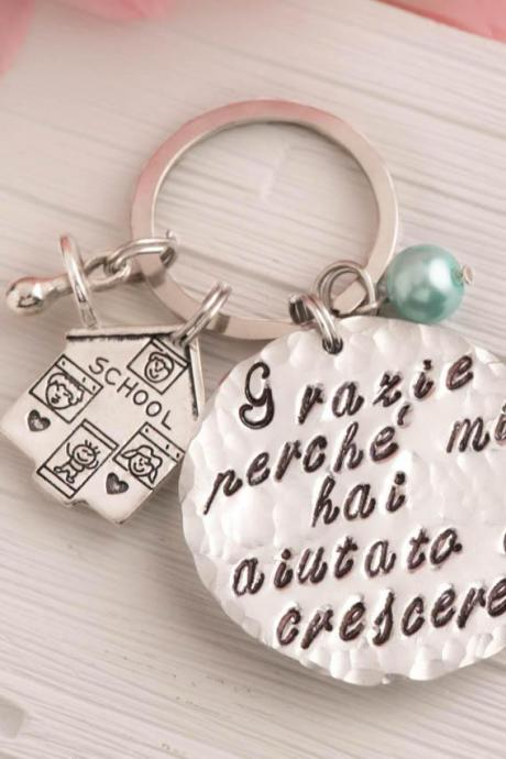 Hand stamped keychain, custom teacher gift with school keychain as day care gift as preschool teacher.