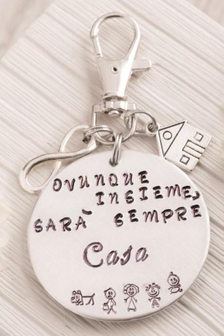 Hand stamped keychain, Engraved house gift from daughter keychain