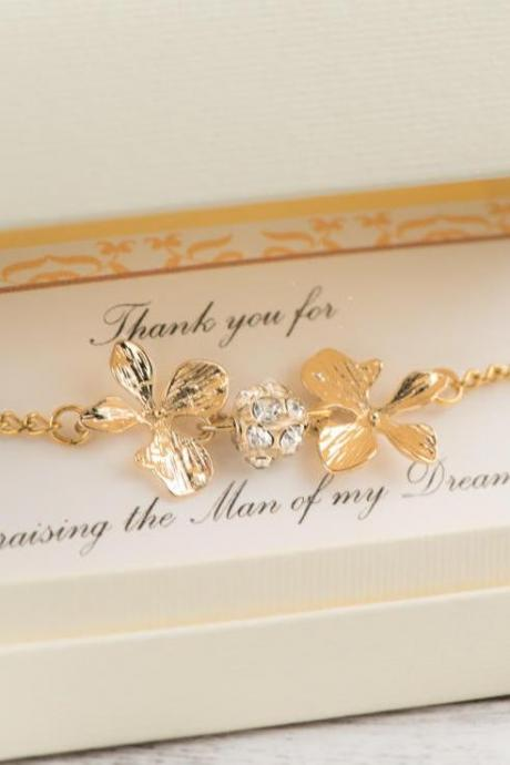 mother in law gift, raising the woman man, the man of my dreams, orchid jewelry, gold orchid bracelet, mother of groom gift from bride