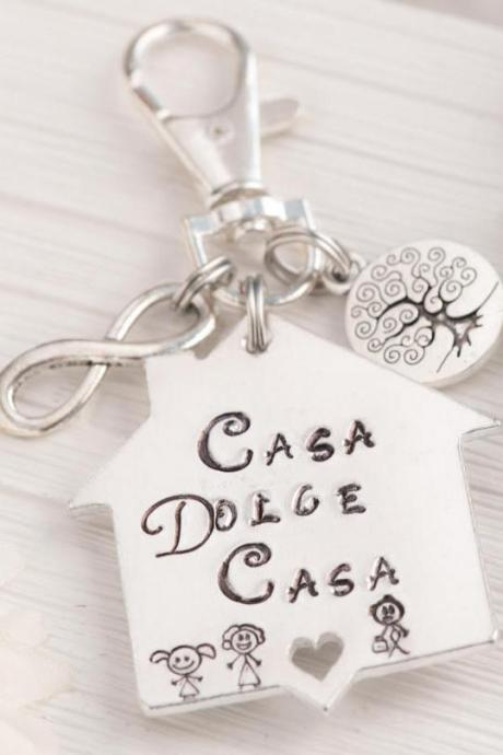 Hand stamped keychain, Engraved keychain as first house gift personalized