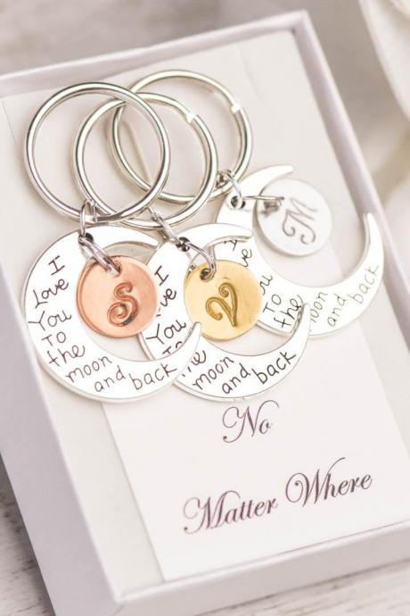 Hand stamped best friend keychain , to the moon and back keychain, 3 sister best friend, stamped keychain, gold silver keychain, no matter where, I love you keychain