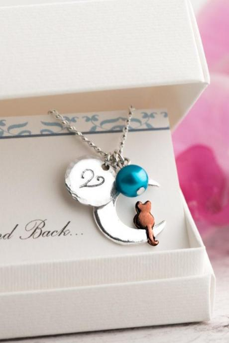 Red cat necklace with moon and initial name