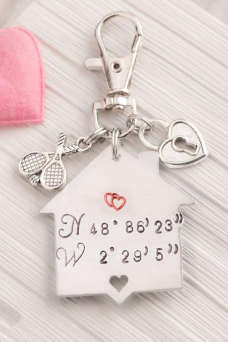 Hand stamped keychain, Coordinates engraved keychain as first anniversary gift