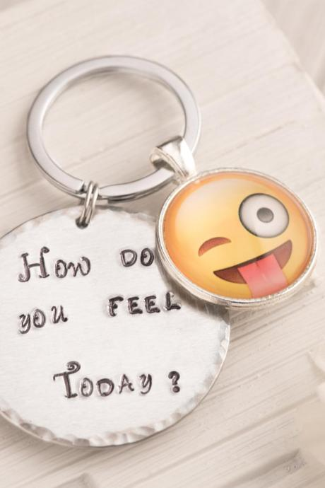 Tongue emoji keychain as funny gift for man